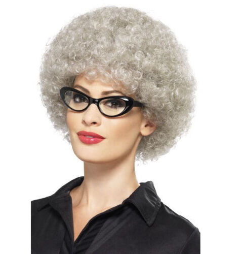 Granny Perm Wig Grey Afro Old Lady Fancy Dress Costume Accessory New Adults