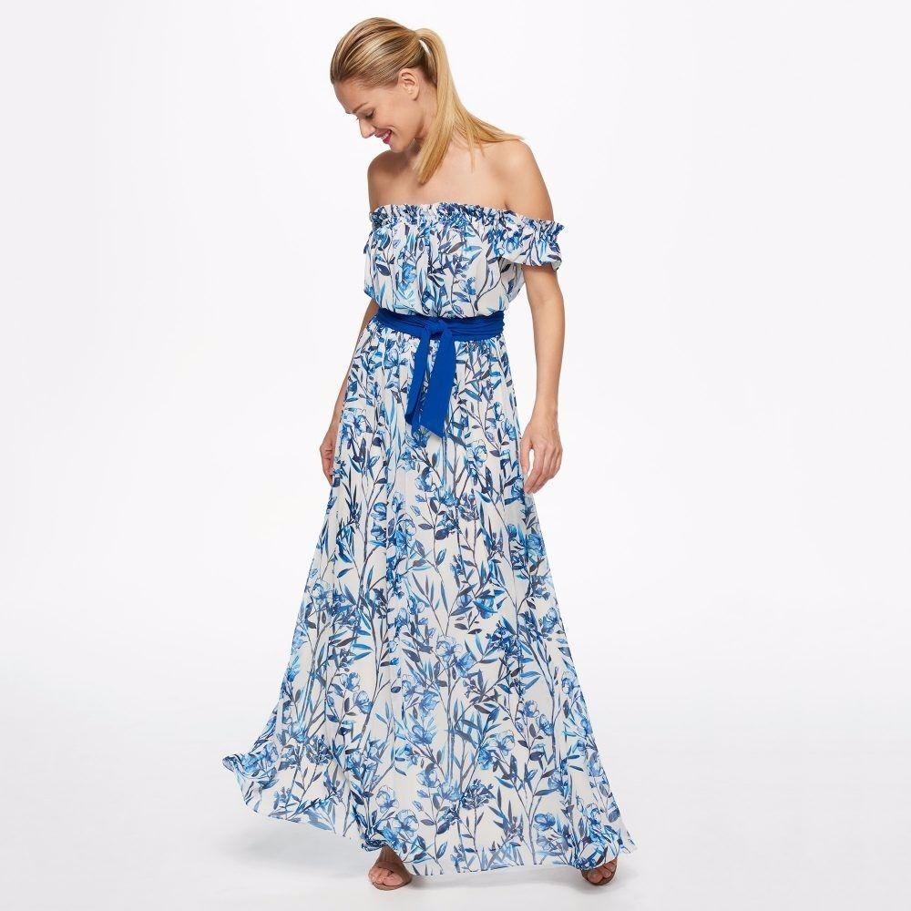ELIZA J FLORAL PRINT OFF THE SHOULDER MAXI  DRESS sz  12
