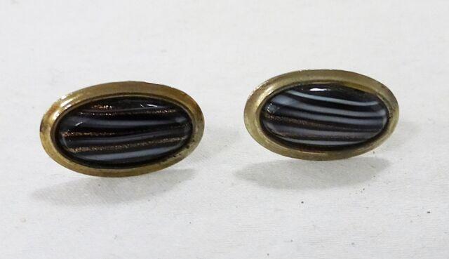 Vintage cufflinks art glass oval filigree black white gold