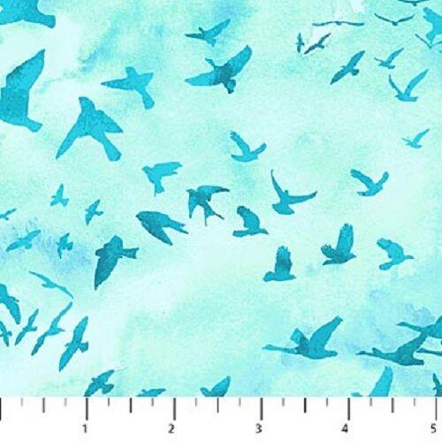 OCEAN TIDES GLIDING BIRDS SKY FABRIC