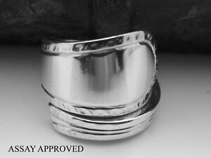 STUNNING-FEATHER-EDGE-STERLING-SILVER-SPOON-RING-ASSAY-APPROVED-SIZE-I-J-K-L-M
