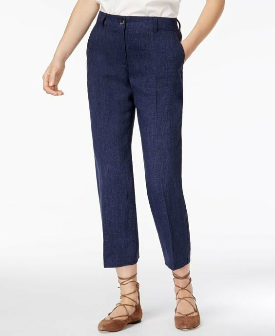 295 Weekend MaxMara Denim Blau Cropped Linen Oxa Hose Trousers 4 NWT W232
