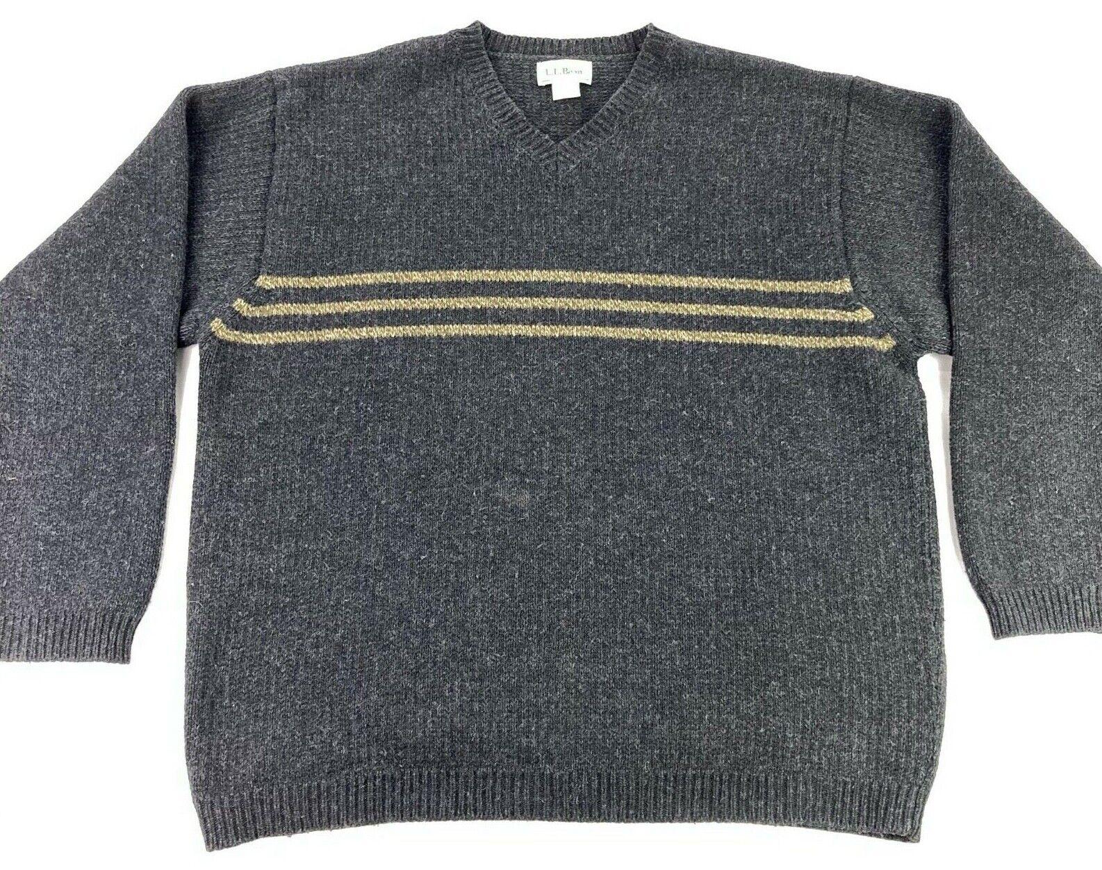 LL Bean Men's Wool V-Neck Sweater Gray • Large - image 2
