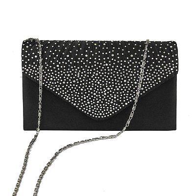 Women Lady Satin Wallet Clutch Bag Bridal Evening Party Diamante Handbag Purse