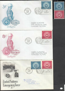 UNITED NATIONS EMERGENCY  FORCE 3 1957 FDC #51 3¢ & #52 8¢ & NH STAMPS
