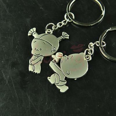 Lovely Boy Pursues Girl Love Key Chain Key ring Key fob Lover Couple Gift Ring