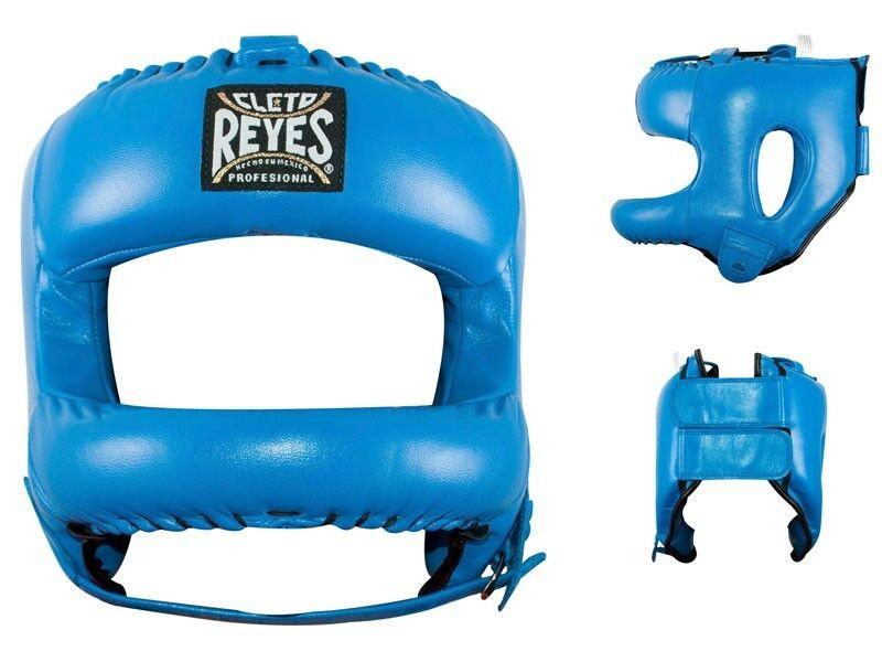 Cleto Reyes Neu Gestalteter Leder Boxen Kopfschmuck mit Nylon Face bar - Blau