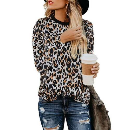 Women/'s Long Sleeves T Shirts Patchwork Leopard Blouses Ladies Casual Loose Tops