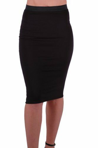 Womens Bodycon Stretch Pencil Tube Casual Skinny Fit Plain Office Midi Skirts