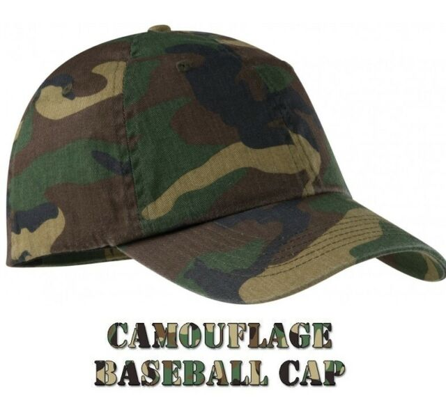 7662045660f Mens CAMO Baseball Cap Camouflage 100% Cotton Army Fishing Camping Hunting