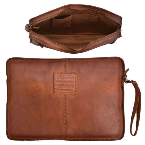 Mens Ladies Supreme Quality Genuine Soft Leather Zipped Laptop Tablet IPad Case