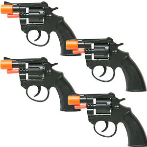 4-BLACK-CAP-GUN-TOY-PISTOL-REVOLVER-POLICE-COLT-45-FIRE-8-RING-CAPS-FREE-GIFT