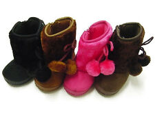 New Infant Toddler Girls Winter Casual Faux Fur Suede Plain Bootie Shoes**283