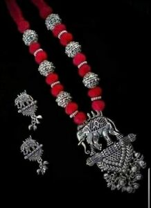Indian-Ethnic-Traditional-Oxidized-Elephant-Necklace-set-with-Earrings
