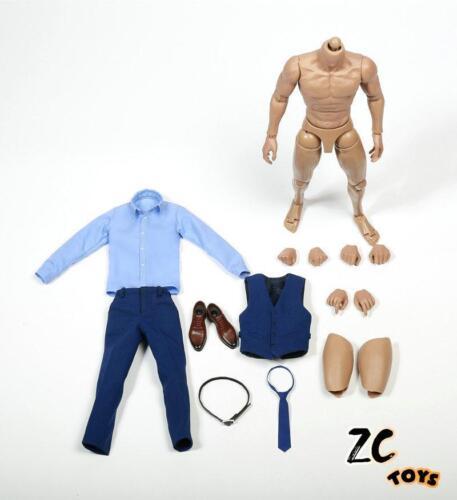 """ZC TOYS 1//6 Scale Gentleman Suit Clothes Blue Costume Set Fit 12/"""" Male Figure"""