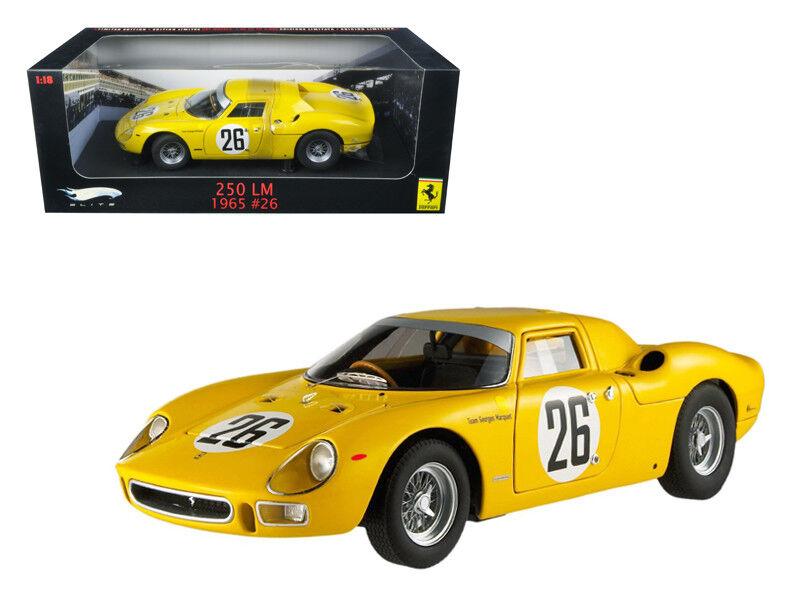 1  18 heta hjul 1965 Ferrari 250 LM Elite Edition tärningskast Förlaga gul P9901
