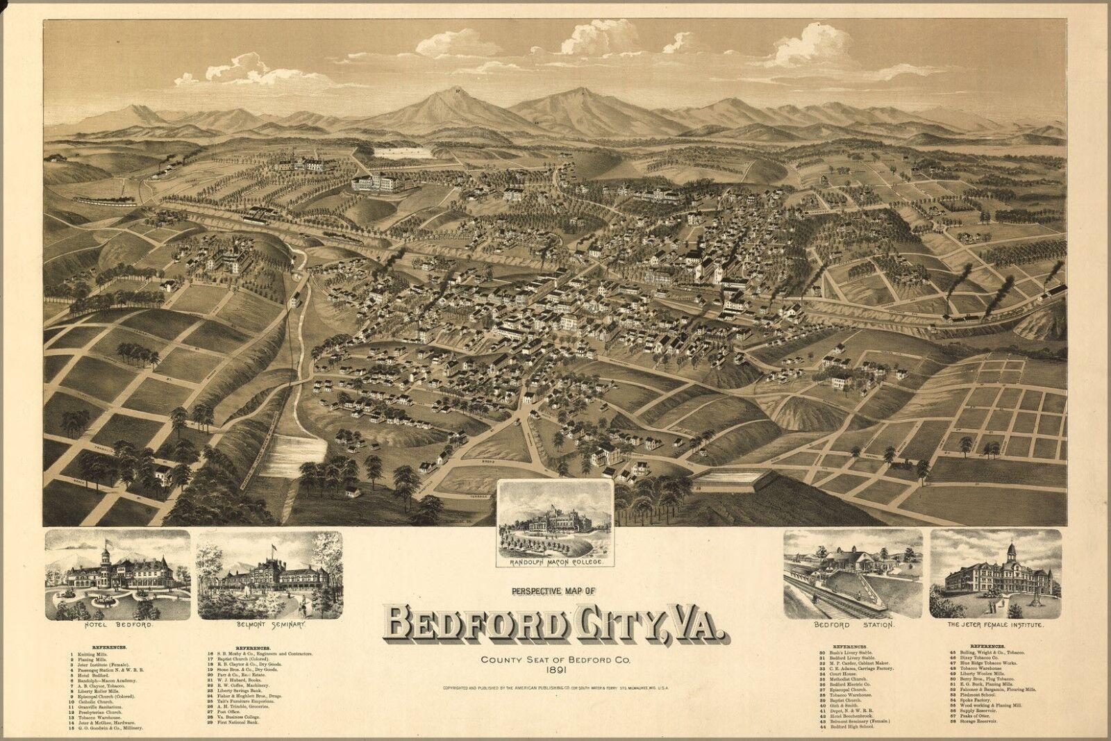 Poster, Molte Misure; Birdseye Vista Vista Vista Mappa Del Bedford Città, Virginia 1891 73b06c