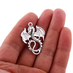 10pcs-Tibetan-Silver-Viking-Dragon-Pendentif-Charms-Bead-35-27mm-Fit-A-faire-soi-meme-Bijoux