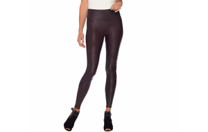 Spanx Faux Leather Leggings Wine Size X-Large A278540 QVC J