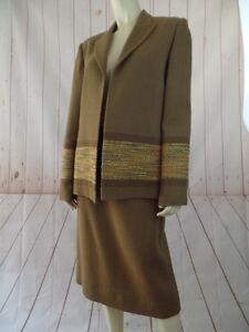 George-Simonton-Skirt-Tank-Blazer-Suit-12-Caramel-Texture-Wool-Blend-Vintage-3pc