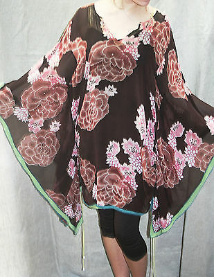 """WHISTLES Pure Silk Tunic Top 52"""" BUST 10 - 20 FLORAL Kimono-Style Boho RARE FIND"""