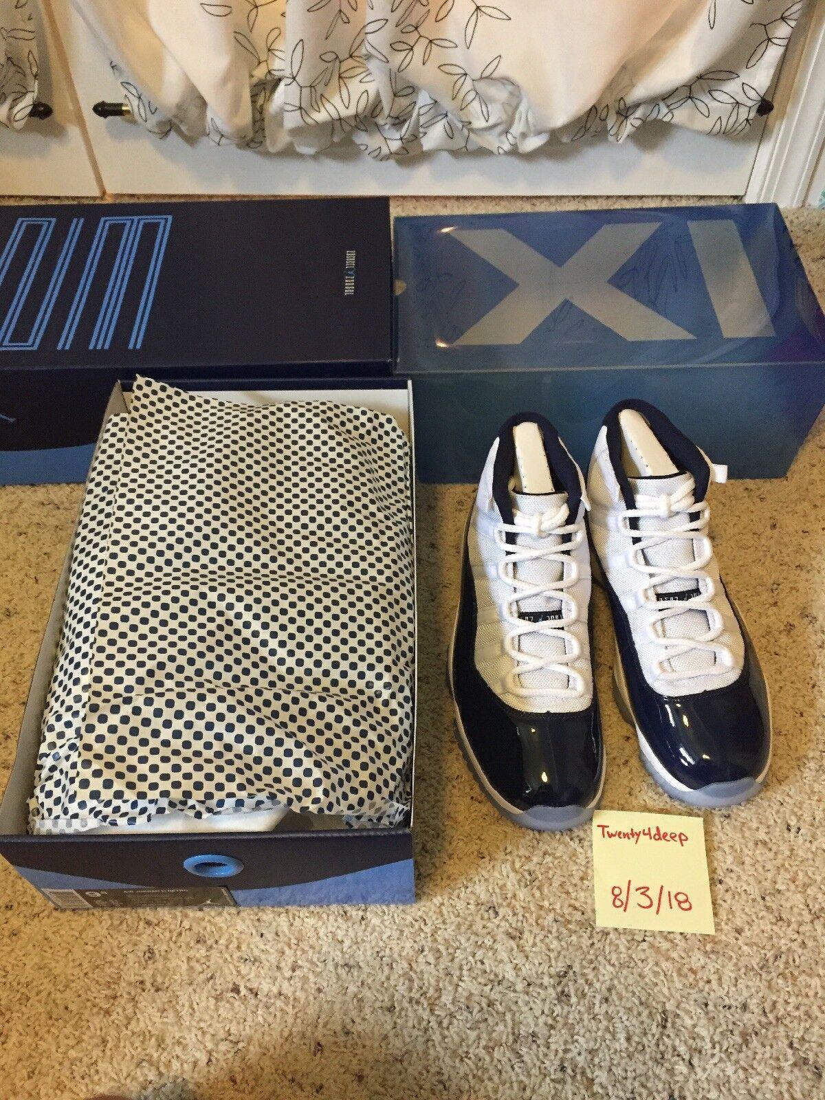 Nike AIR JORDAN 11 WIN LIKE '82 White/University Blue 378037 123 Men's Sz 9.5