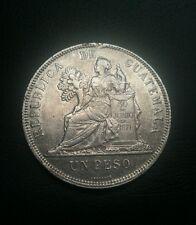 Guatemala 1895 1 Peso silver coin. Nitida moneda de plata .. un peso.