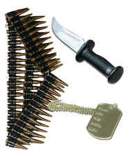 Army Mens 80s Fancy Dress Soldier Costume Outfit Knife Dog Tag Bullet Belt