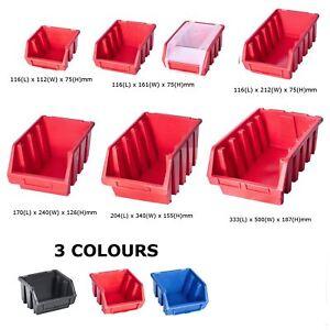 Ergo-Bleu-Noir-Rouge-Bac-de-rangement-Bacs-en-plastique-Toutes-les-tailles