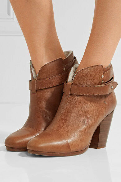 550 Rag & Bone Harrow SHEARLING Ankle Boots in brown sz EU 38.5   US 8.5