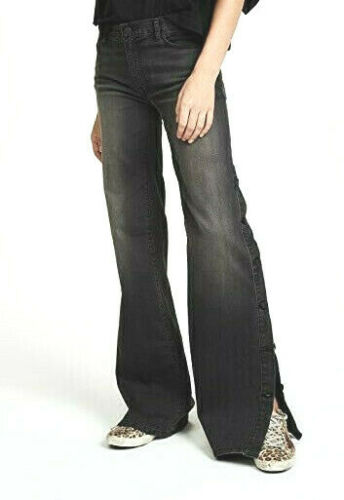 NILI LOTAN $765 faded black gray denim wide flared