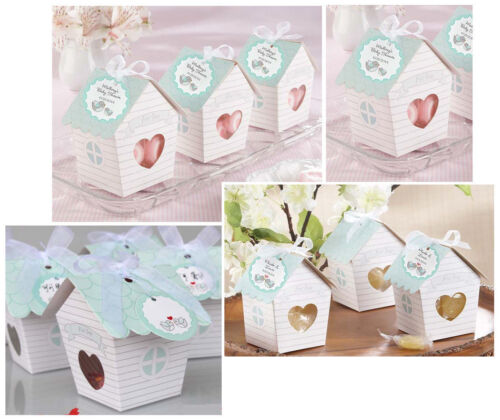"""50pcs /""""Love Nest/"""" Green Bird House Wedding Favour Box Candy Gift Party Cake Box"""