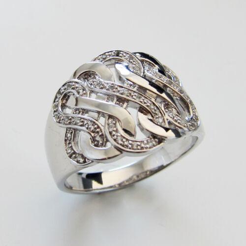 Damenring 925 Silber rhodiniert Unendlichkeit Symbol Infinity Topas weiß Pave