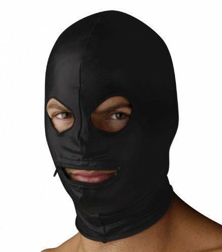 Strict Leather Spandex Zipper Mouth Hood With Eye Holes FREE2DAYSHIP TAXFREE