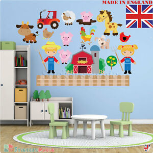 FARM-ANIMAL-Nursery-Wall-Stickers-Sheep-Boy-Girl-Kids-Bedroom-Farmyard-Vinyl-Art