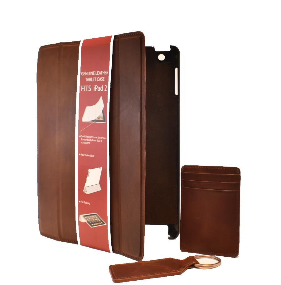 Genuine Leather iPad 2 Case, Card Case w/ Bottle Opener & Key Fob Gift Set!