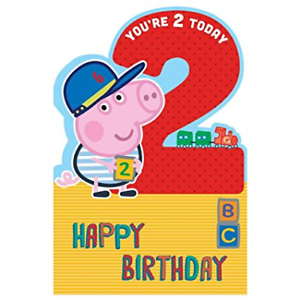 Details About Peppa Pig George Age 2 Large Cut Out Birthday Card 256109