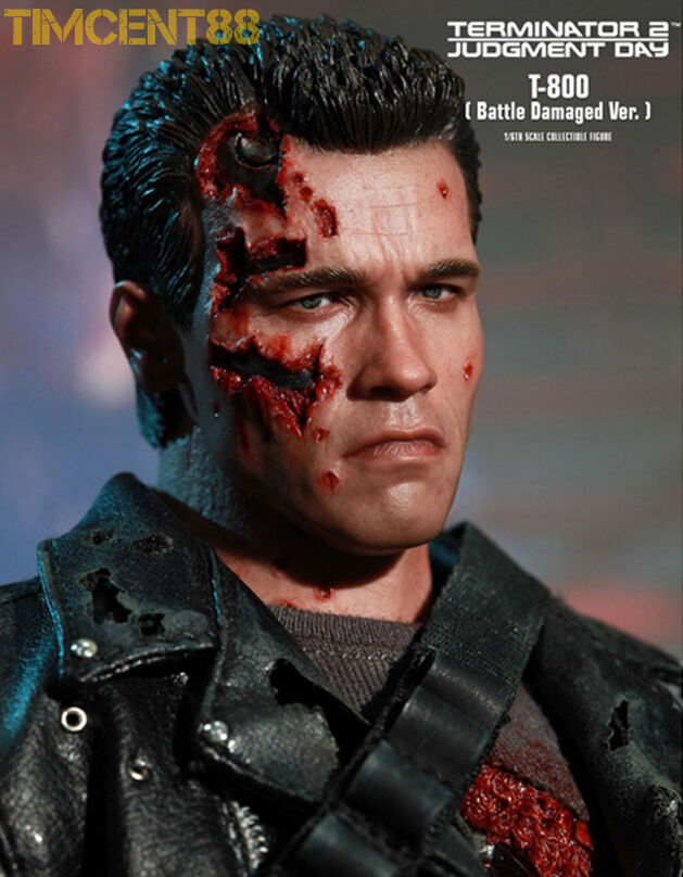 Hot Toys 1 6 DX13 Terminator T2 T2 T2 T-800 Sideshow Battle Damaged Normal Sealed 32aa4b
