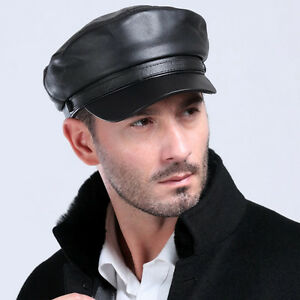 Men s Genuine Leather Beret Cap Golf Driving Military Cadet Hat ... 9f7a6504900
