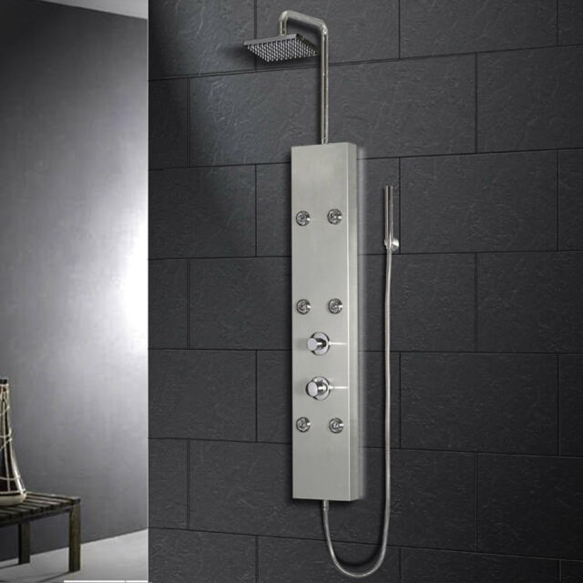 Ariel A301 Shower Panel With Mage Jets Hand Held And Rainfall Heads