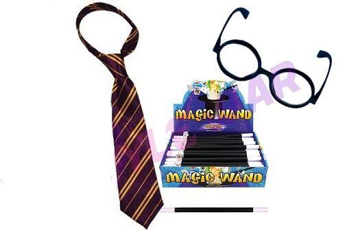 New Kids Boys HARRY WIZARD FANCY DRESS TIE /& GLASSES /& WAND World BOOK DAY WEEK