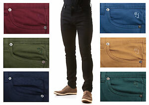 NEW MENS SKINNY STRETCH JEANS - Slim Fit Twill Coloured Jeans ...