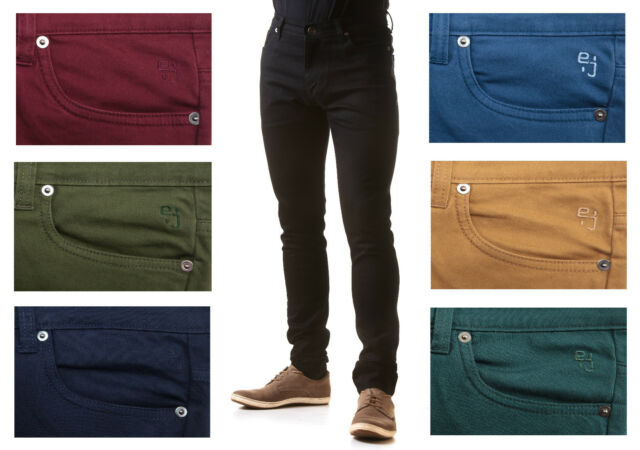 NEW MENS SKINNY STRETCH JEANS - Slim Fit Twill Coloured Jeans Pants Trousers