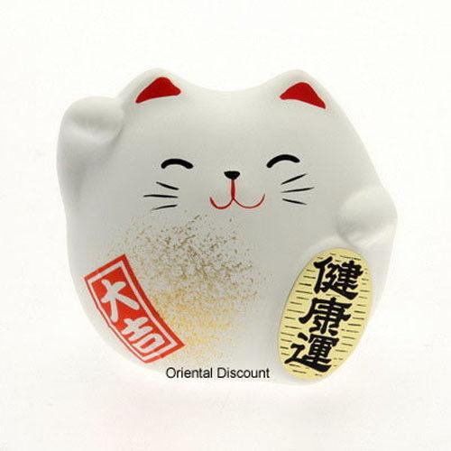"6 PCS. Japanese 2""H Ceramic Maneki Neko Health Lucky Happy Cat, Made in Japan"