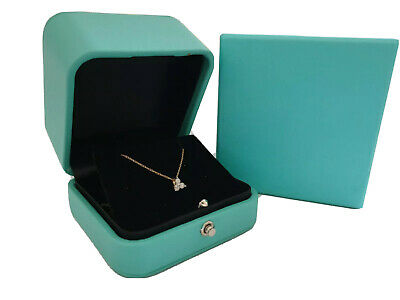 Luxury vintage design soft leather textured turquoise earring or necklace box