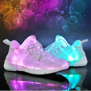 Details About Le Men Women Lace Up Usb Rechargable Sneaker Luminous Led Light Up Shoes