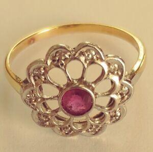 Antik-Stil-Exklusiv-Jugendstil-Ring-Echt-585-Gelbgold-Weissgold-Diamanten-Rubin