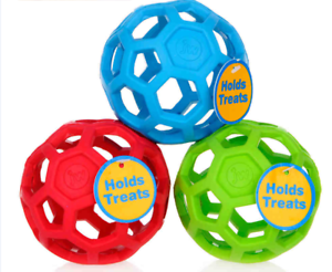 JW-PET-HOL-EE-ROLLER-BALL-DOG-TOY-Non-Toxic-Natural-Rubber-Lattice-Ball-Squish