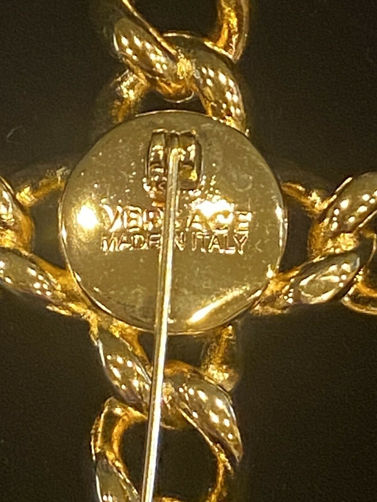 SIGNED VINTAGE GOLD PLATED GIANNI VERSACE CRYSTAL… - image 3