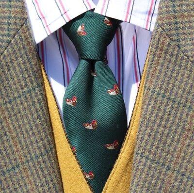 Talbott Shop Vintage British Racing Green Woven Silk & Dacron Duck Tie - England